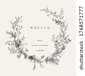 vintage floral vector wreath.... | Shutterstock .eps vector #1768571777