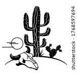 Desert Landscape With Cactuses...