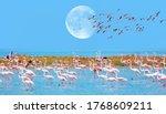 Flock Of Birds Pink Flamingo...