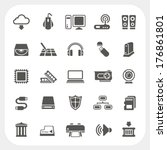 computer hardware icons set | Shutterstock .eps vector #176861801