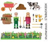 gardening and harvesting. happy ...   Shutterstock .eps vector #1768654304