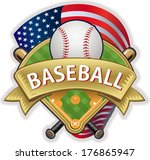 usa flag and baseball | Shutterstock .eps vector #176865947