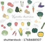 set of hand drawn vegetables...   Shutterstock .eps vector #1768688507