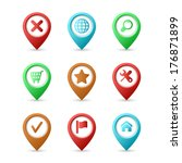 map pins with icons | Shutterstock . vector #176871899
