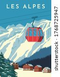 Ski Resort With Red Gondola...
