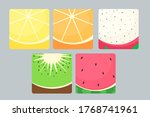 set of fruits in a cut  fruit... | Shutterstock .eps vector #1768741961