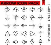 arrow vector line icons set