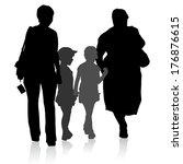 silhouette of family  mother... | Shutterstock .eps vector #176876615