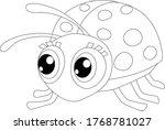 Ladybug Coloring Cartoon Vector ...
