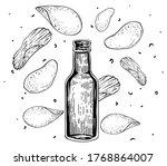 bottle of beer with potato... | Shutterstock .eps vector #1768864007