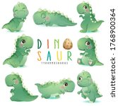 cute little dinosaur poses with ...   Shutterstock .eps vector #1768900364