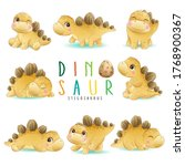 cute little dinosaur poses with ... | Shutterstock .eps vector #1768900367