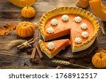 Fresh Homemade Pumpkin Pie On...