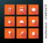 flat restaurant icon set  ...