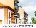 colorful buildings with a... | Shutterstock . vector #1768917194