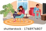 cartoon couple reading and... | Shutterstock .eps vector #1768976807