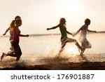 group of happy teenagers... | Shutterstock . vector #176901887