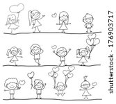 cartoon hand drawn set of happy ... | Shutterstock .eps vector #176903717