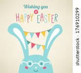 Easter card with rabbit. Vector greeting card - stock vector