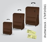 traveling cases and tickets... | Shutterstock .eps vector #176914361