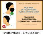face covering required sign and ...   Shutterstock .eps vector #1769165504