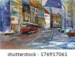 Tram In Prague Watercolor