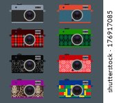 set of retro cameras  hipster...