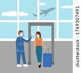 staff measuring the temperature ... | Shutterstock .eps vector #1769307491