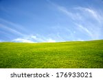 green meadow with blue sky and...   Shutterstock . vector #176933021