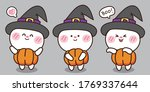 halloween concept.cute rabbit... | Shutterstock .eps vector #1769337644