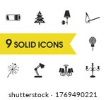 bright icons set with table...
