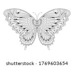 butterfly   coloring page  ... | Shutterstock . vector #1769603654