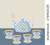 vintage tea set on the... | Shutterstock .eps vector #176963135
