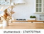 kitchen wooden table top and... | Shutterstock . vector #1769707964