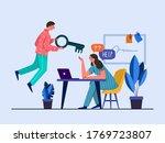 men and women sitting at desk... | Shutterstock .eps vector #1769723807