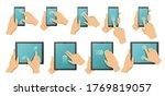 touchscreen gestures. hands on...   Shutterstock .eps vector #1769819057