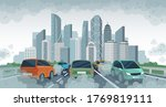 cars air pollution. polluted... | Shutterstock .eps vector #1769819111