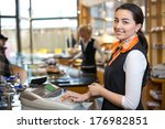 shopkeeper and saleswoman at... | Shutterstock . vector #176982851