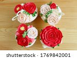 Top View Of Four Cupcakes With...