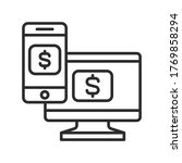 online bill pay black line icon....