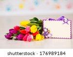 bouquet of beautiful tulips... | Shutterstock . vector #176989184