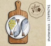 retro vintage style fish... | Shutterstock .eps vector #176996741