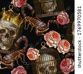 embroidery skull  golden cage... | Shutterstock .eps vector #1769970581