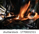 Wood With Burning Wood Fire As...