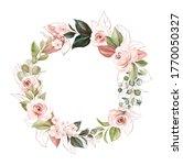 watercolor floral wreath of... | Shutterstock . vector #1770050327