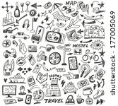 travel   big doodles set | Shutterstock .eps vector #177005069