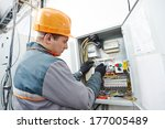 young adult electrician builder ... | Shutterstock . vector #177005489