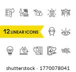 medicine icons set with hiv...