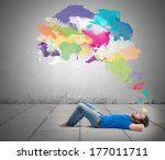 lying man thinking creatively... | Shutterstock . vector #177011711