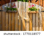 House Wooden Gates With Hangin...